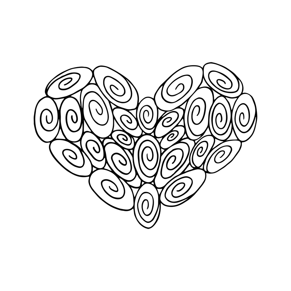 25 Swirl Heart : Love Collection : Fancy Print