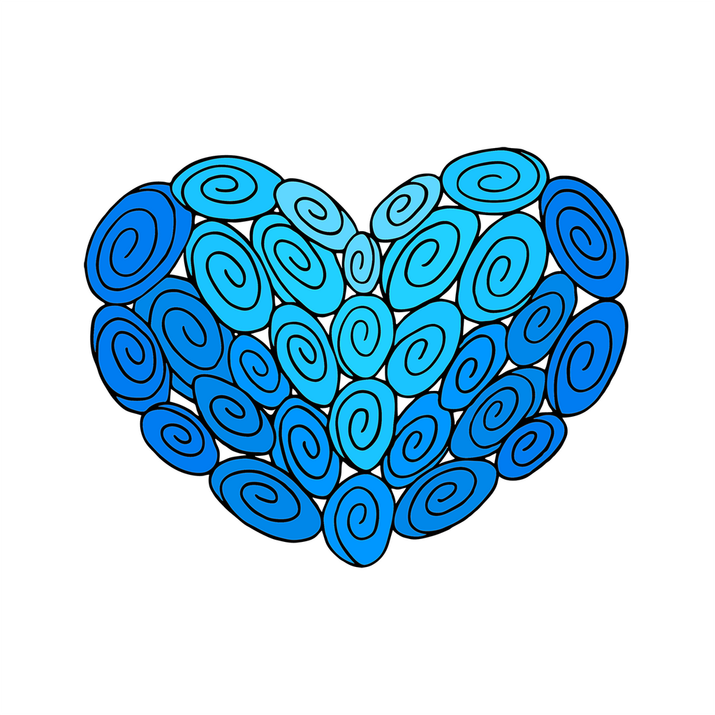 30 Swirl Heart : Love Collection : Canvas