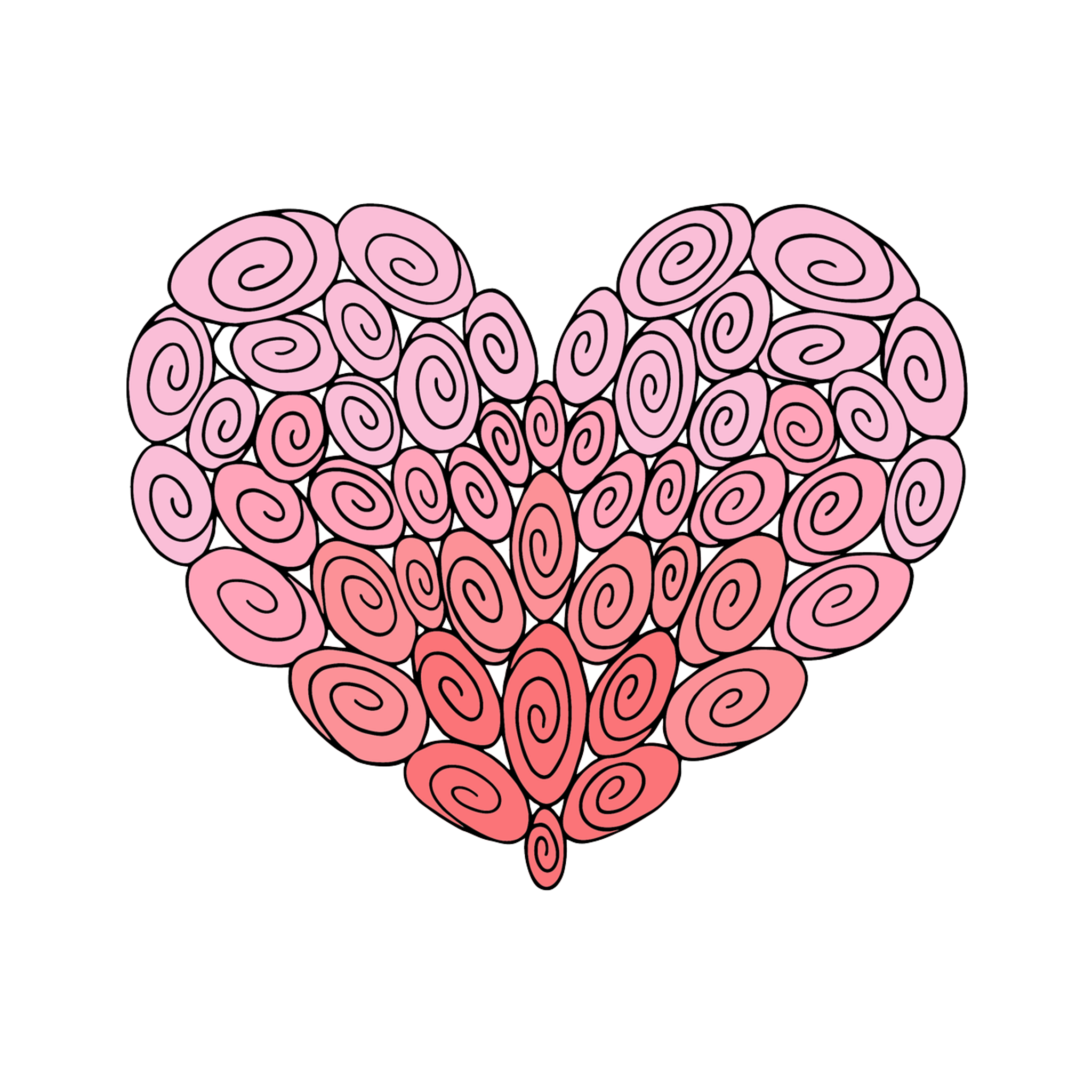 50 Swirl Heart : Love Collection : Canvas