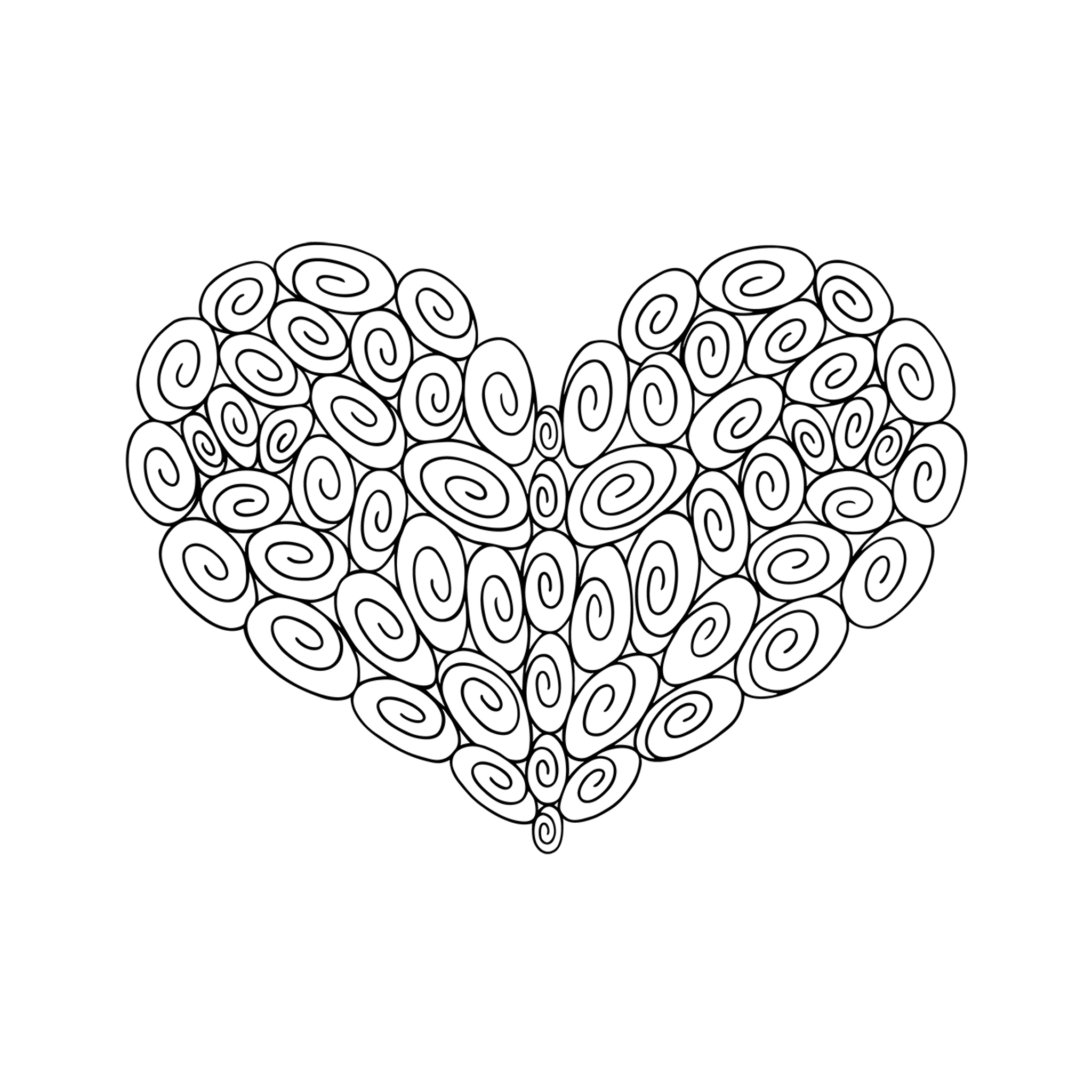 60 Swirl Heart : Love Collection : Canvas