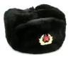 Authentic Russian Military Black Ushanka Hat Leather Top w/ Soviet Red Army Badge