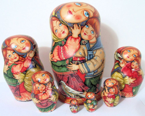 "One of a Kind 7pcs Russian Nesting Doll ""Children"" by Guseva"