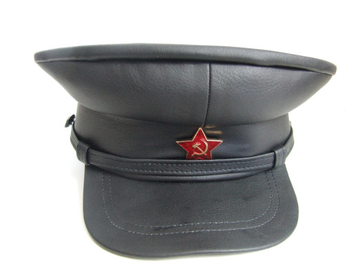 Russian Black Stalin Style Visor Cap Faux Leather