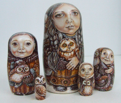 """""""The Girls with their Pet Owls"""", by Ludmila Chmelyova"""