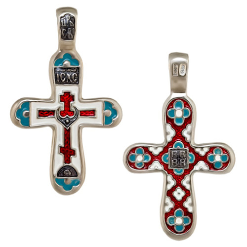 Orthodox Cross Ag .925 red/white blue detail_A