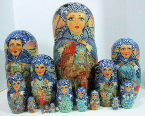 """15pcs Hand Painted One of a Kind Russian Nesting Doll """"Snowqueen"""""""