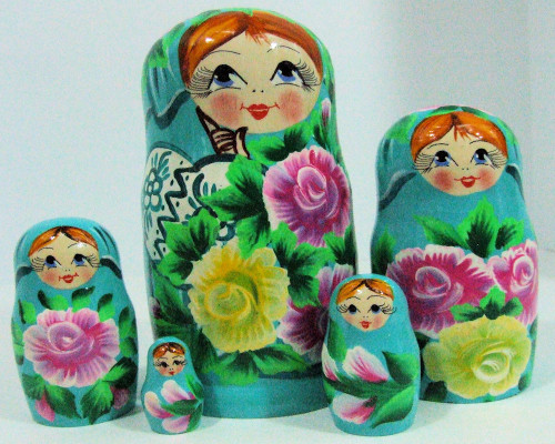 5pcs Hand Painted Floral Green Blue Color Russian Nesting Doll