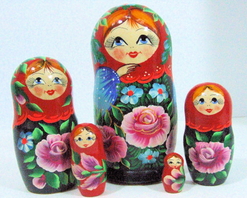 5pcs Hand Painted Floral Red Color Russian Nesting Doll