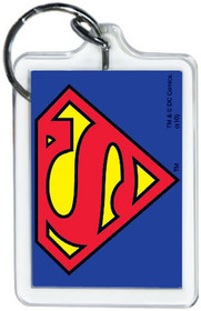 "DC Comics Superman Logo 3"" x 2"" Officially Licensed Lucite Double Sided Keychain"