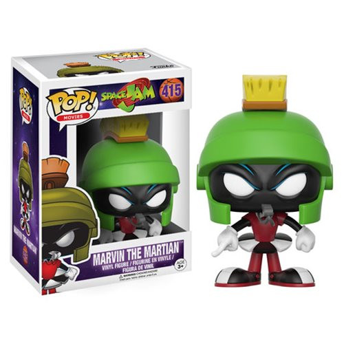 Get ready to jam! Get ready for the ultimate game with a familiar character from 1996's Space Jam. This Space Jam Marvin the Martian Pop! Vinyl Figure measures approximately 3 3/4-inches tall and comes packaged in a window display box. Ages 3 and up.