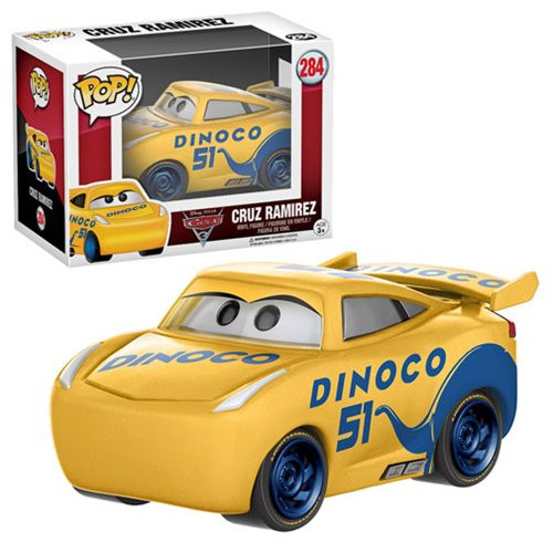 Get a fast pass to fun times with the characters of Disney Pixar's Cars . With the help of rookie Cruz, Lightning McQueen is attempting a comeback in the Florida 500. The Cars 3 Cruz Ramirez Pop! Vinyl Figure comes packaged in a window display box. Ages 3 and up.