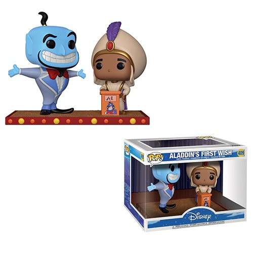 Aladdin Genie Movie Moment Pop! Vinyl Figure: From Disney's Aladdin comes a stylized vinyl figure of Genie on a stylized base depicting a memorable movie from the classic! Genie measures approximately 3 3/4-inches tall. Comes packaged in a window display box.