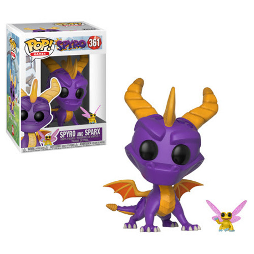 Bring the heat with the original roast master, Spyro! From the popular video game series, the purple dragon includes a Pop! Buddy of his dragonfly pal, Sparx. This Spyro the Dragon and Sparx Pop! Vinyl Figure and Buddy #361 come packaged in a window display box. Spyro measures approximately 3 3/4-inches tall