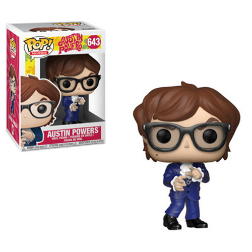 The International Man of Mystery is back and ready to exponentially increase your collection's groovy factor. Pop! Austin Powers looks devilishly handsome in his blue suit while secret agent Vanessa Kensington is deadly, gorgeous and ready to help Austin Powers face. Dr. Evil who of course is accompanied by Mr. Bigglesworth his cat.  This Austin Powers Funko Pop! Vinyl Figure #643 measures approximately 3 3/4-inches tall. Comes packaged in a window display box.