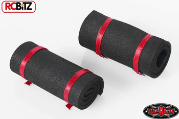 1/10 Scale Sleeping Roll Mat bed w/ straps 2 BLACK Red Straps 10th TOY Z-S1302