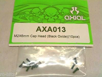 AXA013 Axial M2 x 6mm Cap Head BLACK 10 1.5mm Hex Head SCX10 Wraith Bomber