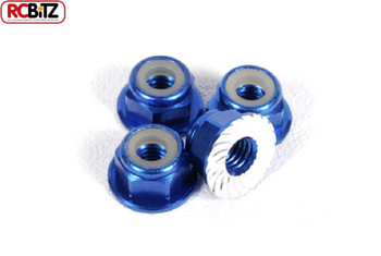 AXIAL M4 Serrated Nylon Lock Nut BLUE 4 Anti undo Yeti Wheel AXA1046 Wraith Nuts