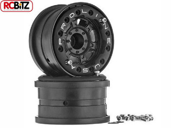 "Titus 2.2"" BLACK Bead-Loc Wheels NO Weight Hex Rock Crawlers 1:16 E-REVO 2713"