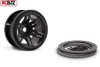 "2.2"" Rockster Beadlocks Scaler crawler Wheels 12mm Hex BLACK Wraith AX8091"