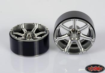 """Dick Cepek Gun Metal 7 2.2"""" Internal Beadlock Wheels 4 Scale Hubs Hex Mounting"""