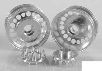 Chaos Semi Truck Front Wheels w/ Spiked Caps RC4WD Z-W0154 x2 SILVER Alli RC