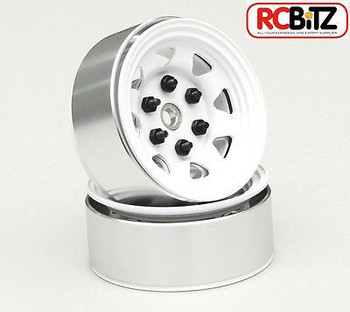 Stamped Steel 1.55 Stock White Beadlock Scaler Wheel RC4WD HEX Mounting (4)
