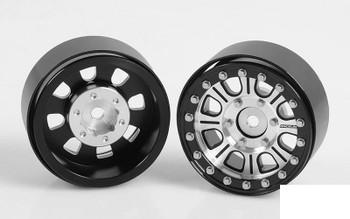 """RC4WD Raceline Monster 1.7"""" Beadlock Wheels Silver Black Z-W0203 8 spoke rcBitzLtd"""