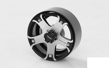 """RC4WD Raceline Gunner 1.7"""" Beadlock Wheels Z-W0211 Silver 5 Spoke inc Hub HEX"""
