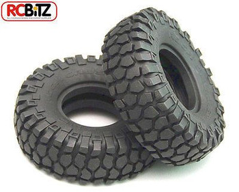 Rock Crusher X/T Tires (2) 1.55 Scale Tyre Square Truck tread design X3 compound