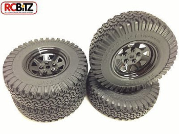Set of 4 BLACK Waggon 5 lug Wheels With 1.9 Dirt Grabber Tyres Gelande G 2 D90