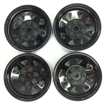 6 Lug Wagon 1.9 scale Steel Stamped Beadlock Wheels BLACK Pin Mount realistic[(4) One Set]