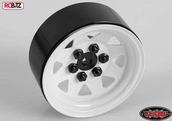 6 Lug Wagon 1.9 scale Steel Stamped Beadlock Wheels WHITE Pin Mount realistic[(4) One Set]