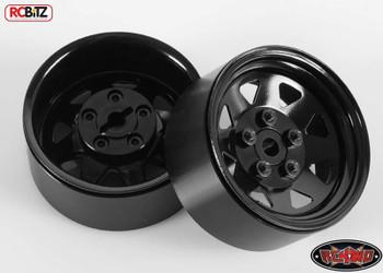 5 Lug Wagon 1.9 scale Steel Stamped Beadlock Wheels BLACK Pin Mount realistic[(1) One WHEEL]