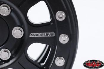 "RaceLine Monster 1.9"" Beadlock Wheels BLACK 12mm hex scale Hardware METAL"