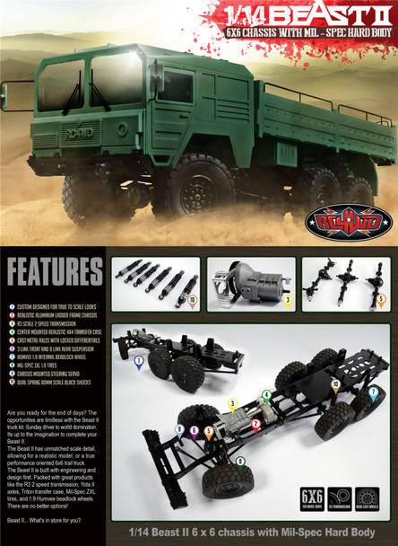 RC4WD 6x6 The Beast 2 II Truck Builder Kit Multi Axle MAN Military METAL Z-K0052