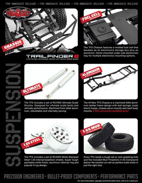 Trail Finder 2 Truck Kit Mojave II Body Set GREY 4x4 Scaler RC4WD TF2 Z-K0049