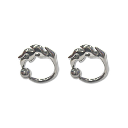 Pair of Cast Steel Captive Bead Plug CBR 8-4G Earrings-123-Lex and Lu