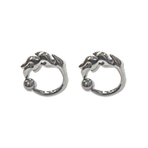Lex & Lu Pair of Cast Steel Captive Bead Plug CBR 8-4G Earrings-123-Lex & Lu