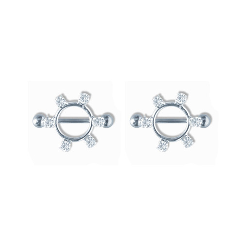 Lex & Lu Pair of Steel Barbell w/Nipple Shields Rings w/Gems, 14 Gauge-101-Lex & Lu
