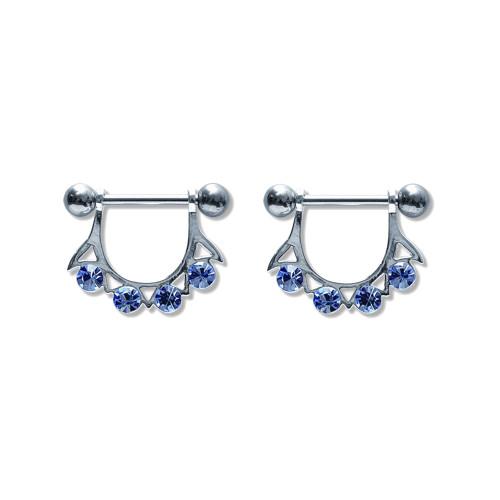 Pair of Steel Barbell w/Nipple Shields Rings w/Gems, 14 Gauge-102-Lex and Lu