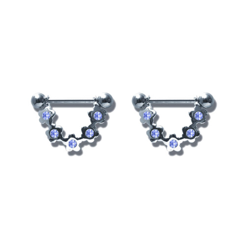 Lex & Lu Pair of Steel Barbell w/Nipple Shields Rings w/Gems, 14 Gauge-104-Lex & Lu