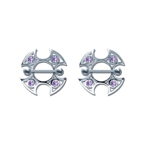 Pair of Steel Barbell w/Nipple Shields Rings w/Gems, 14 Gauge-106-Lex and Lu