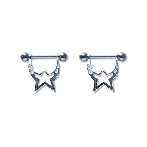 Pair of Steel Barbell w/Nipple Shields Rings, 14 Gauge-102-Lex and Lu