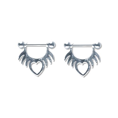 Pair of Steel Barbell w/Nipple Shields Rings, 14 Gauge-103-Lex and Lu