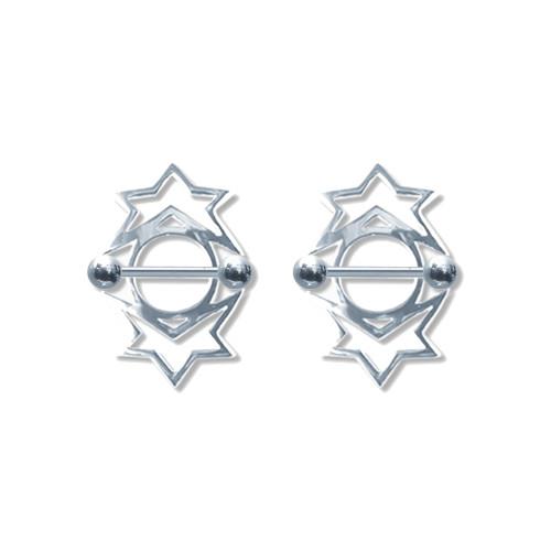 Pair of Steel Barbell w/Nipple Shields Rings, 14 Gauge-104-Lex and Lu