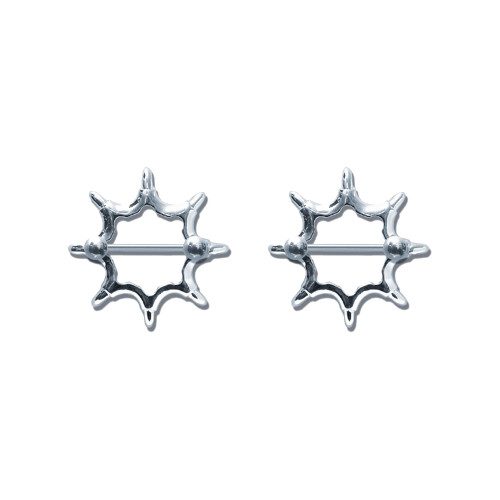 Lex & Lu Pair of Steel Barbell w/Nipple Shields Rings, 14 Gauge-112-Lex & Lu