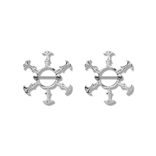 Pair of Steel Barbell w/Nipple Shields Rings, 14 Gauge-116-Lex and Lu