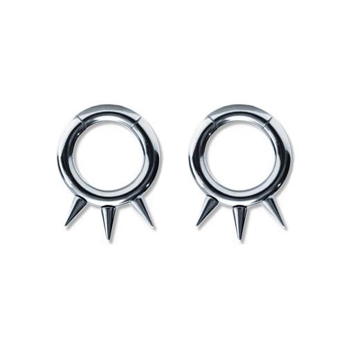 Pair of Steel Seamless Segment Rings w/Spikes 10 Thru 6 Gauge-Lex and Lu