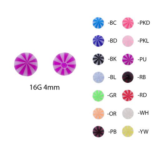 Lex & Lu Pair of Acrylic Mint Striped Threaded Replacement Balls 16 Gauge-Lex & Lu