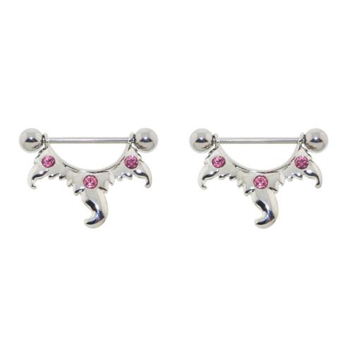 Pair of Steel Barbell w/Nipple Shields Rings Pink CZ Gems, 14 Gauge-Lex and Lu